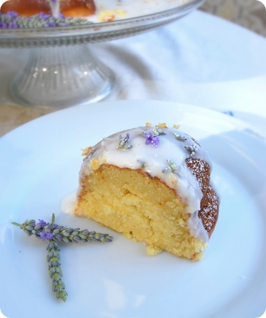 slice of lavender cake