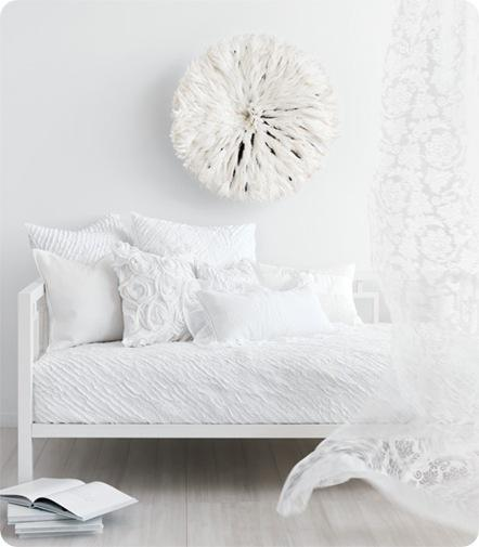 all white bed style at home