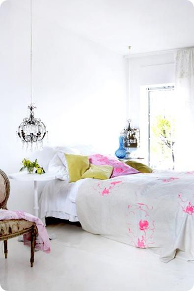 rachel whiting white bedroom with color