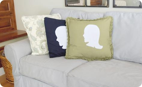 silhouette boy and girl pillows