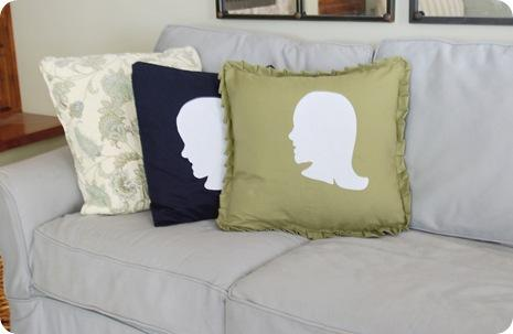 silhouette girl and boy pillows
