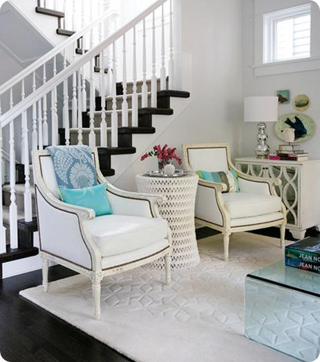 white chairs and endtable style at home