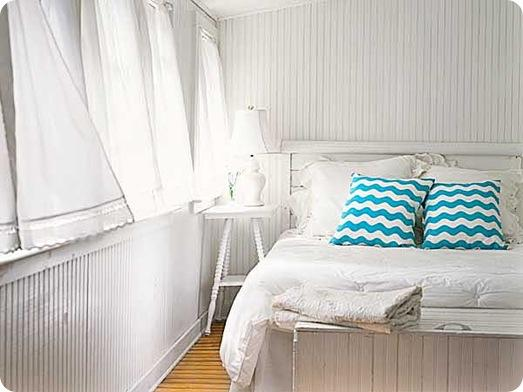 white room pop of turquoise cottage living