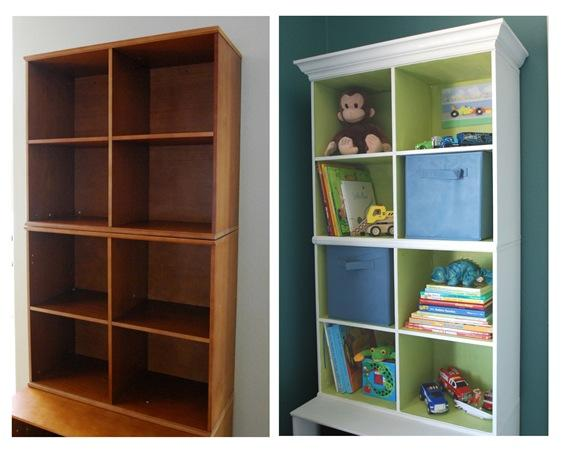 honey shelves before and after painting