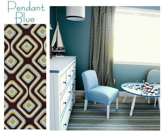 pendant blue swatch in room