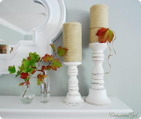 cg candles and leaves on mantel
