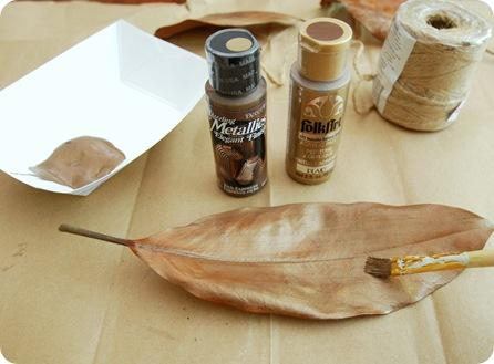 metallic paint on leaf
