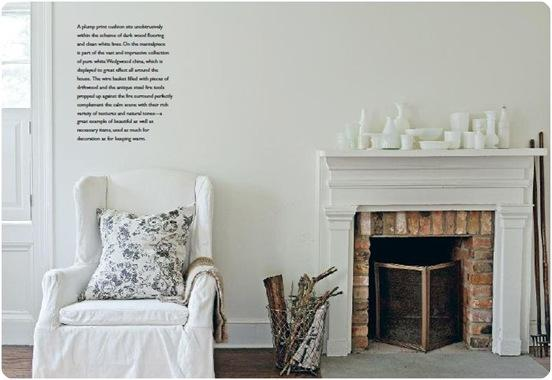 white slipcover and fireplace