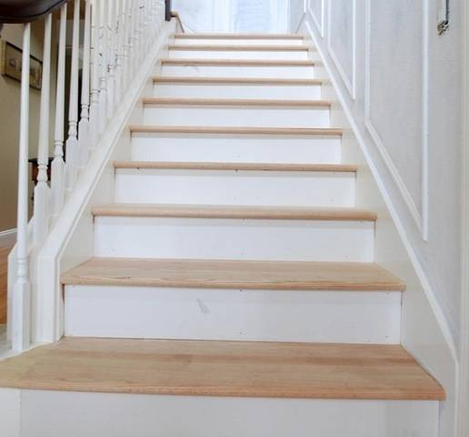 Wood Stairs Painted Risers