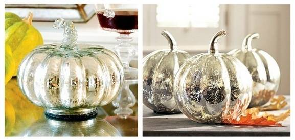 wisteria and pb mercury glass pumpkins