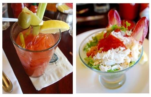 bloody mary and crab cocktail