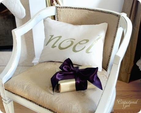cg noel pillow in chair