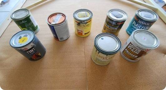 paint cans on glue