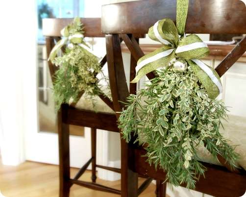 boxwood swags on barstools