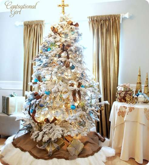 Dreaming of a white christmas tree or two centsational Brown and gold christmas tree