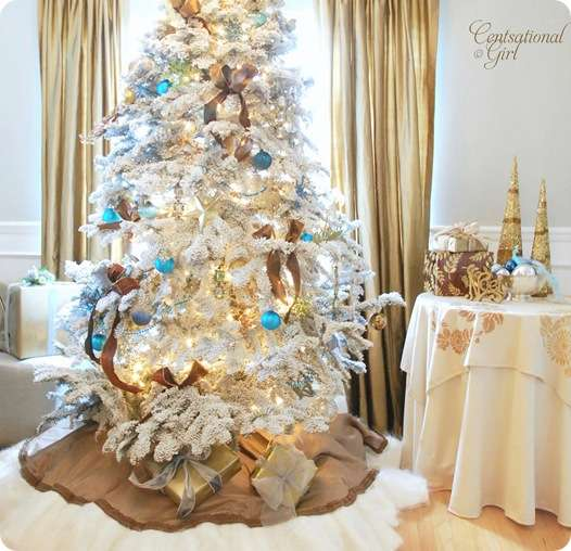 cg white flocked christmas tree