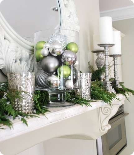 silver and green ornaments