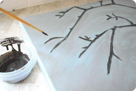 silvery paint then branches