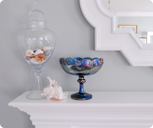 blue compote on mantel