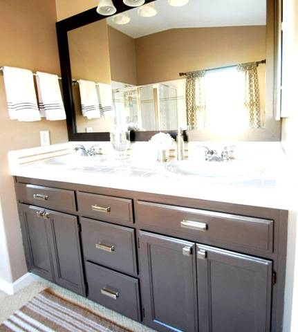 Budget bathroom makeover linky centsational girl Paint bathroom cabinets