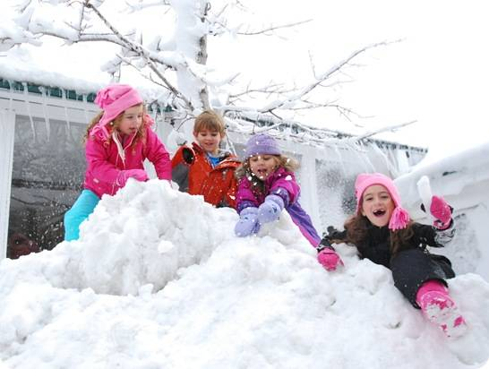 kids playing on snow