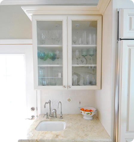 kitchen glass cabinet and sink