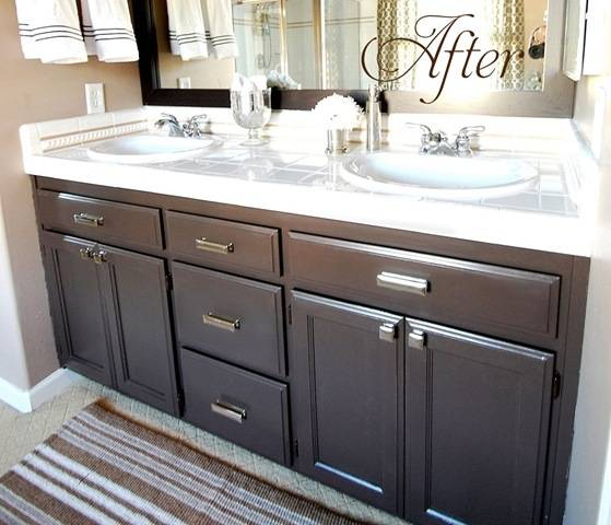 painting bathroom cabinets dark brown budget bathroom makeover linky centsational style 23932