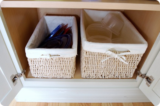 organized lids in basket