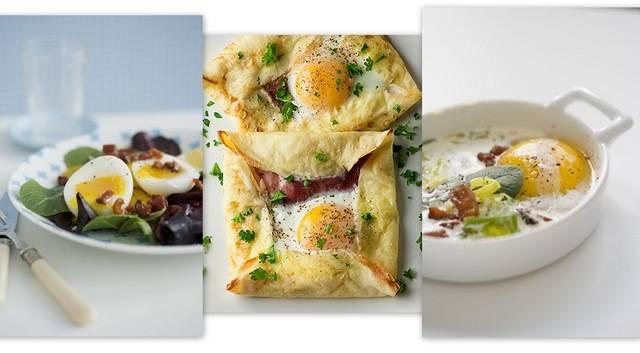 pancetta & egg salad ; ham & egg crepe squares ; cuddled eggs with ...