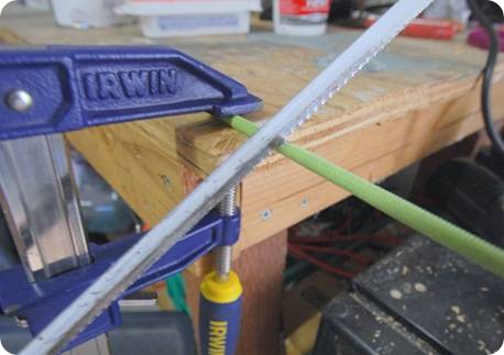 hacksaw and clamp