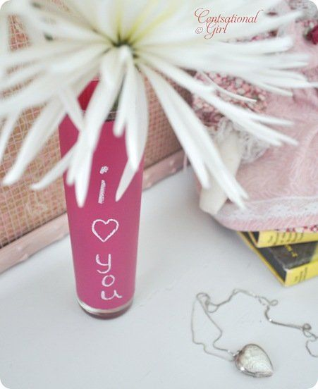 cg i love you pink chalkboard vase