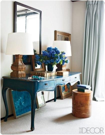peacock blue desk elle decor