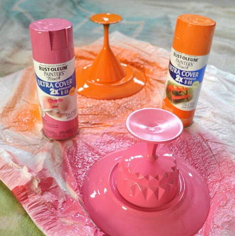 Diy colorful dessert stands centsational girl for Upside down paint sprayer