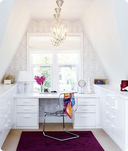 wallpapered white office via the decorista