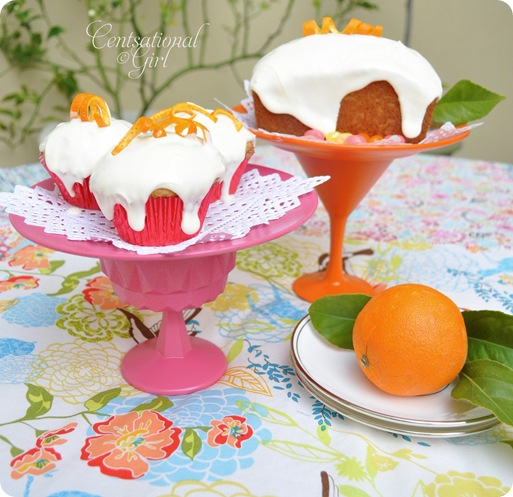 cg pink and orange cake stands