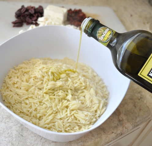Cook your orzo according to the directions on the box, strain, and ...