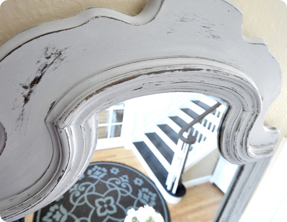 paris grey chalk paint top of mirror