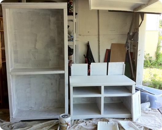 primed cabinets in garage