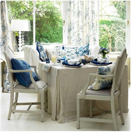 blue white and linen dining