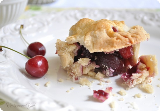 centsational girl cherry almond pie up close