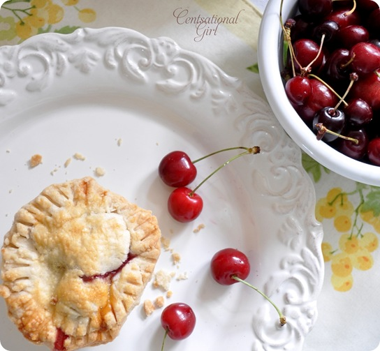 centsational girl pie and bowl of cherries