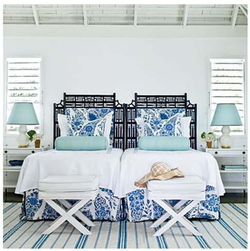coastal living twin beds blue and white room