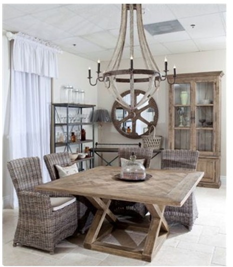 french furniture wine barrel chandy in dining room