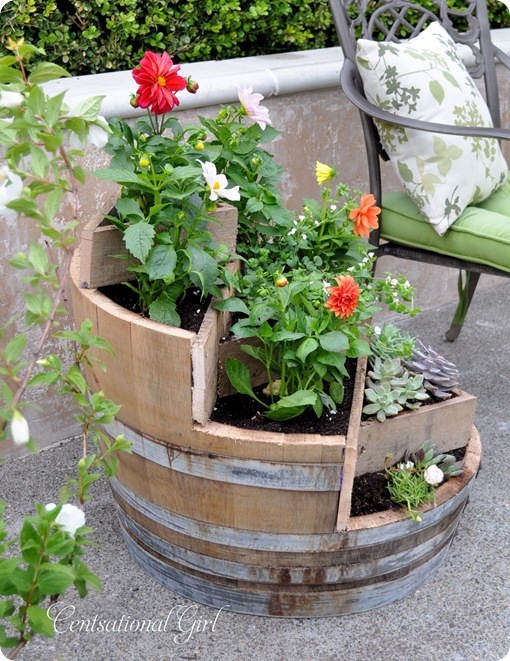 recycled wine barrel planter centsational girl