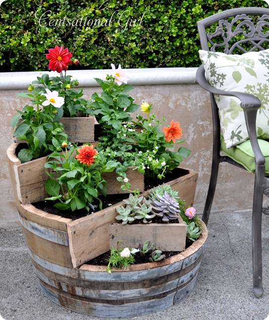 kates tiered recycled barrel planter