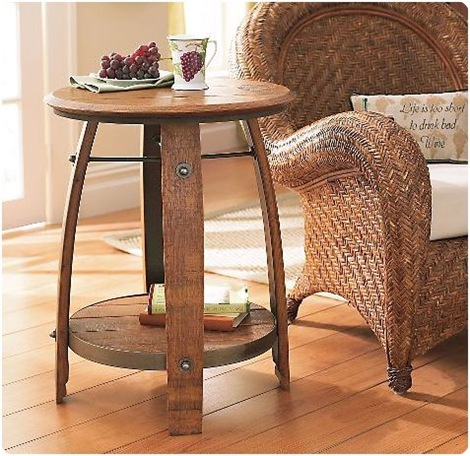 wine barrel end table wine enthusiast