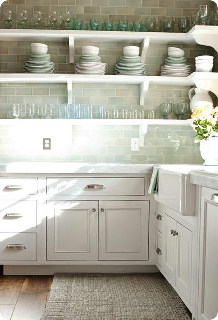 Backsplash open shelves : Open shelving kitchen with white subway tile backsplash