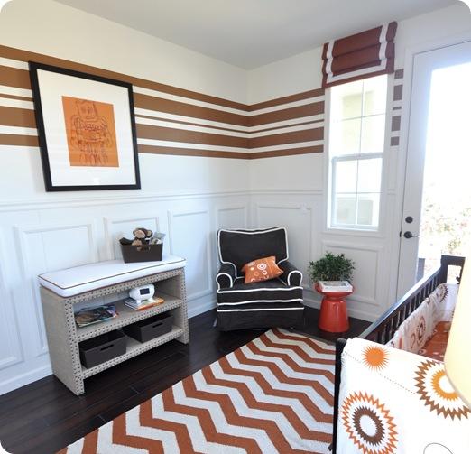 black chair white piping orange stool