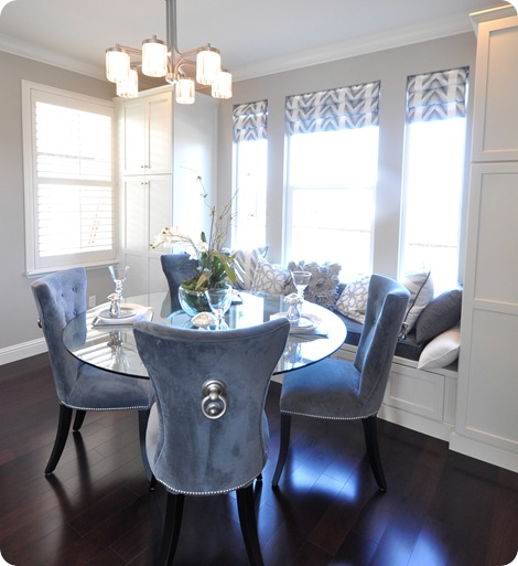 blue velvet chairs dining space