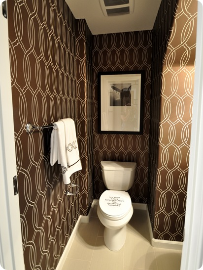 brown link wallpaper powder room